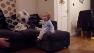 Dad throws ball to kid and he kicks it back every time collection item