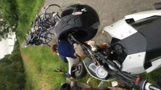 Lad tries to ride a Scooter for the first time and crashes collection item