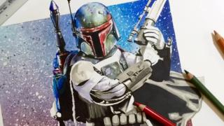 Sped up hand drawing of Boba Fett collection item