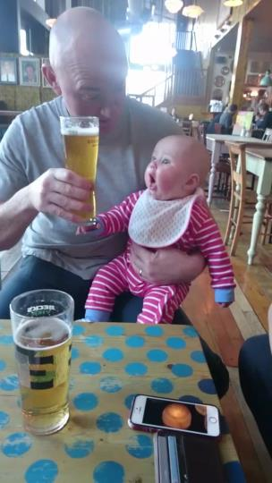 5 month old daughter gets so excited to see beer collection item