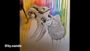 Innovative drip painting technique of a rainbow around a triceratops skull collection item