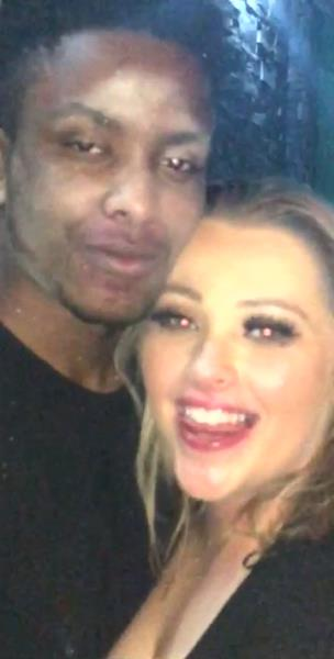 Lad poses for a picture with a girl not realising hes got her makeup all over his face collection item