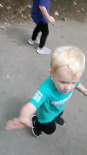 Little boys are scared of the fake velociraptors collection item